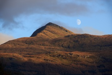 Ben Lomond and a near-full moon rising above it